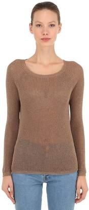 Pink Memories Lurex Rib Knit Sweater