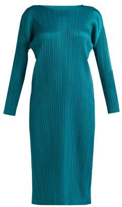 Pleats Please Issey Miyake Pleated Midi Dress - Womens - Dark Green