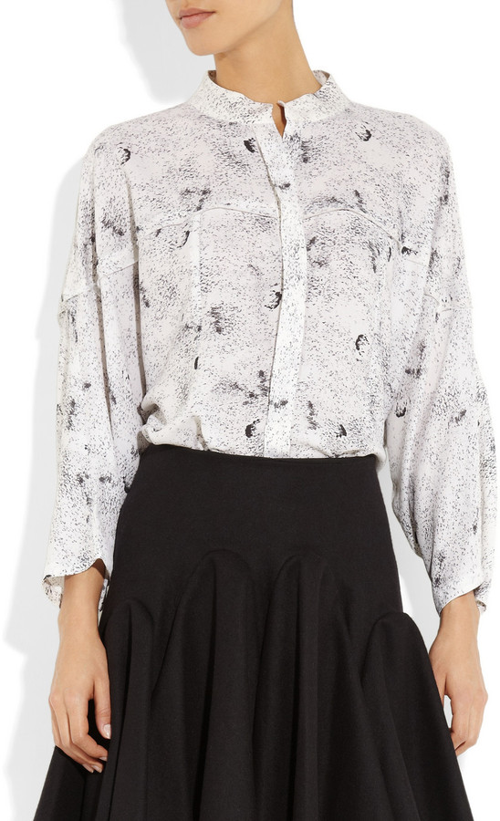 Willow Printed silk-crepe blouse