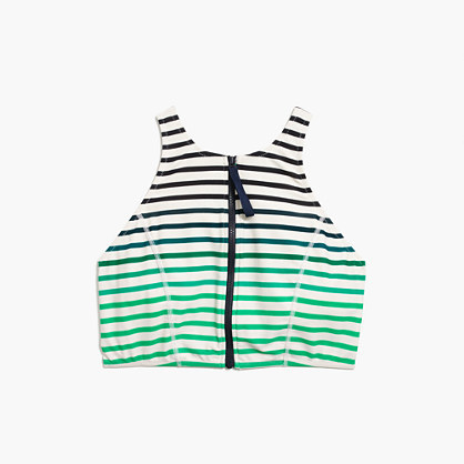 J.Crew Cropped zip-front bikini top in ombré stripe