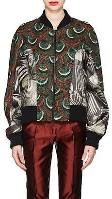 Dries Van Noten Women's Peacock-Pattern Jacquard Bomber Jacket