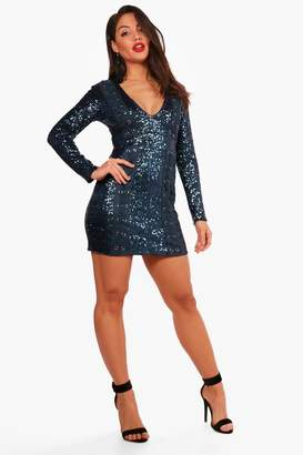 boohoo Boutique Sequin Lace up Bodycon Dress