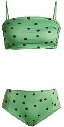 Ganni Clover Polka Dot Bandeau Bikini - Womens - Green Multi
