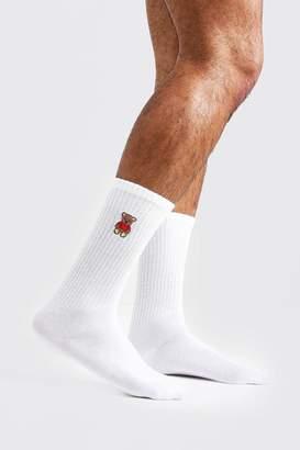 boohoo Teddy Embroidered Tube Socks