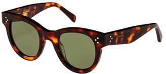 Celine Studded Acetate Sunglasses w/ Mineral Lenses, Brown