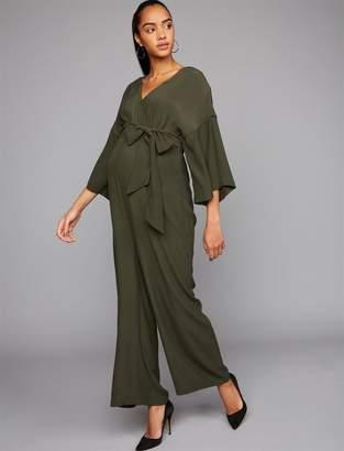 Wide Sleeve Challis Maxi Maternity Jumpsuit