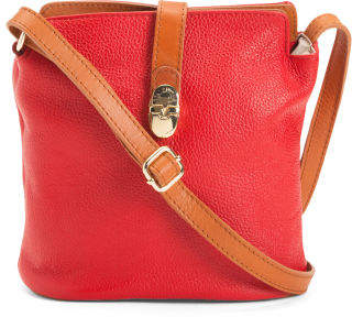 Made In Italy Leather Front Buckle Crossbody