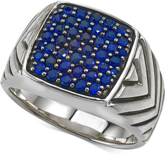 Esquire Men's Jewelry Sapphire Cluster Ring (1 3/8 ct. t.w.) in Sterling Silver, Created for Macy's
