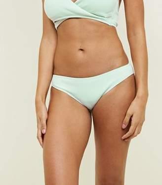 New Look Mint Green Ribbed Bikini Bottoms