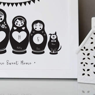 Pepper Print Shop Personalised Russian Dolls Family Print