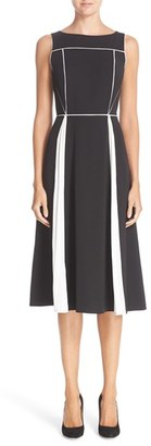 Women's Nordstrom Signature And Caroline Issa Piped Detail Pleated Silk Dress $899 thestylecure.com