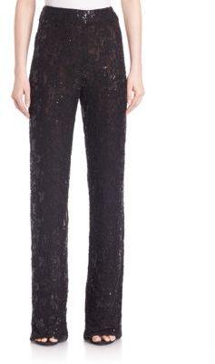 Carmen Marc Valvo Beaded Lace Pants $595 thestylecure.com