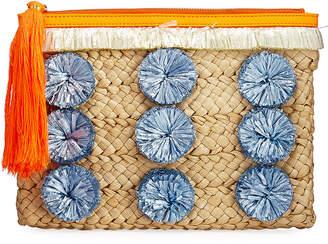 Milly Pompom Straw Clutch Bag