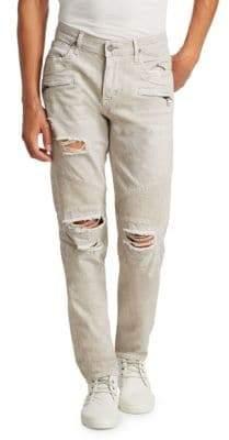 Straight Leg Moto Jeans