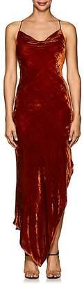 Juan Carlos Obando Women's Asymmetric Velvet Cowlneck Dress