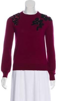 Oscar de la Renta 2016 Virgin Wool Embellished-Accented Sweater w/ Tags
