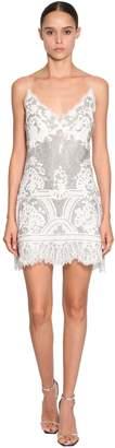 Ermanno Scervino Short Crystal Embellished Lace Dress