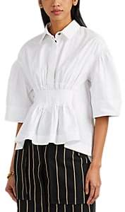 Cédric Charlier Women's Smocked Cotton Poplin Blouse - White