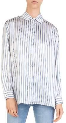 The Kooples Striped Silk Satin Shirt