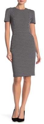 Calvin Klein Patterned Short Sleeve Sheath Dress