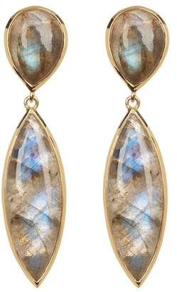 Argentovivo 18K Gold Plated Sterling Silver Cabochon Stone Drop Earrings