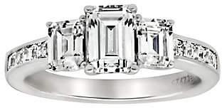 Diamonique 3.40 cttw 3 Stone Ring, Platinum Cla d