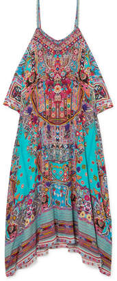 Camilla The Long Way Home Embellished Printed Silk Crepe De Chine Kaftan - Turquoise
