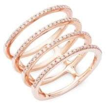 Ef Collection Spiral Diamond & 14K Rose Gold Ring