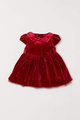 H&M Puff-sleeved Velour Dress - Red