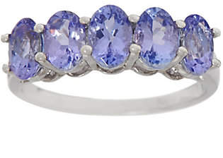 QVC Tanzanite Five Stone Band Ring, 2.00 cttw,Sterling Silver