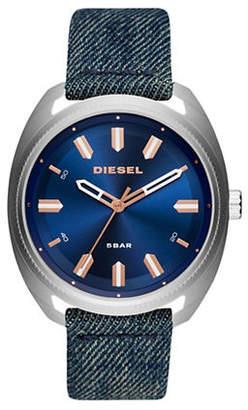 Diesel Fastback Stainless Steel and Denim-Strap Watch