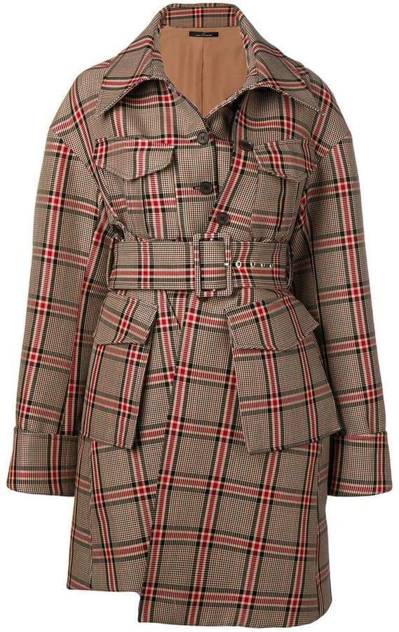 Rokh belted checked coat