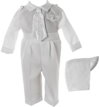Little Angels Newborn Baby Boy 3pc Christening Long Pant Set with 'Cross' Embroidered Necktie, Epaulets & Hat