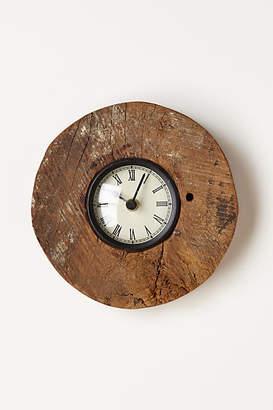Anthropologie Reclaimed Wood-Wheel Clock