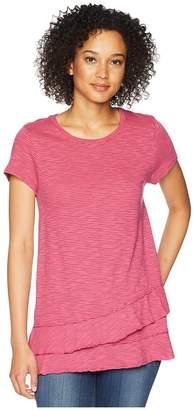 Mod-o-doc Slub Mini Stripe Asymmetrical Flounce Hem Top Women's T Shirt