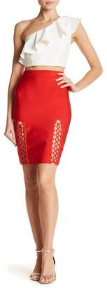 Wow Couture Lace-Up Grommet Detailed Pencil Skirt