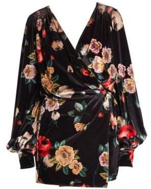 ATTICO Floral Velvet Mini Robe Dress
