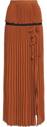 Self-Portrait Flared Pleated Crepe Maxi Skirt