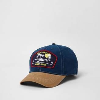 River Island Mens Blue cord paradise badge baseball cap