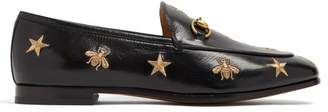 Gucci Jordaan Embroidered Leather Loafers - Womens - Black