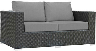 Modway Outdoor Sojourn Outdoor Patio Wicker Rattan Sunbrella Loveseat