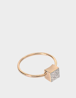 ginette_ny Baby Diamond Ever Square 18-karat rose gold ring