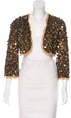 Betsey Johnson Sequined Open Front Jacket