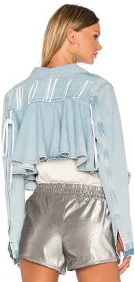 OFF-WHITE Ruffle Denim Jacket $684 thestylecure.com