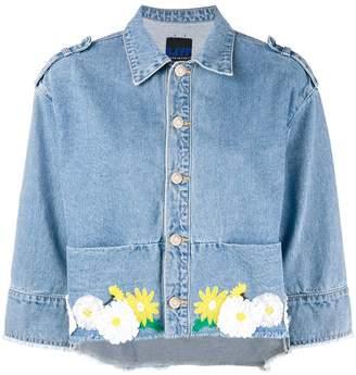 Sjyp floral embroidered cropped denim jacket