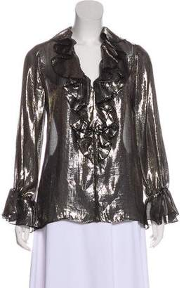 Alice + Olivia Metallic Long Sleeve Top
