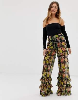 239068c6e6 Asos Design DESIGN wide leg pants in floral print mesh with ruffle hem