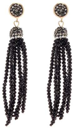 Melrose and Market Pave & Beaded Fringe Earrings