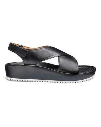 Heavenly Soles Soft Leather Crossover Sandals EEE Fit