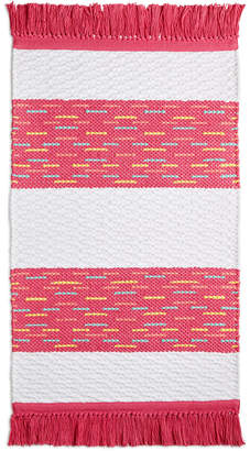 "Martha Stewart Collection CLOSEOUT! Whim by Collection Flamingo Kiss Cotton Stripe 20"" x 32"" Bath Rug, Created for Macy's"
